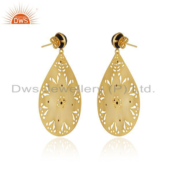 Exporter Handmade 22K Gold Plated Black Onyx Gemstone Filigree Earring With White Zircon