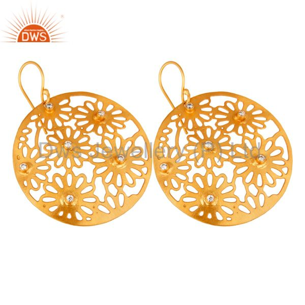 Exporter 14K Yellow Gold Plated White Cubic Zirconia Unique Filigree Designer Earrings