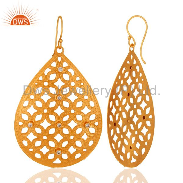 Exporter Unique Handcrafted Filigree Designer Drop Earrings Made In 24k Gold Over Brass