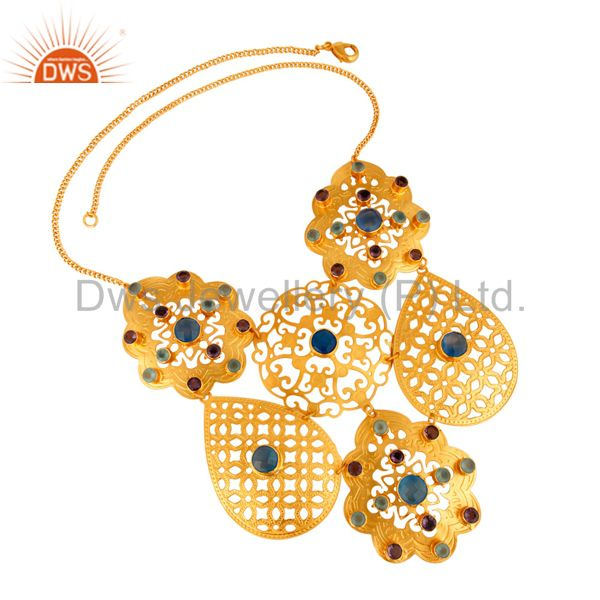 Exporter 18K Gold Plated Blue Chalcedony Gemstone Designer Necklace For Womens Jewelry