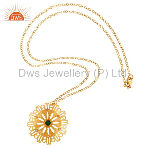 Exporter Designer Green Onyx Gemstone Pendant Necklace With 22K Yellow Gold Plated