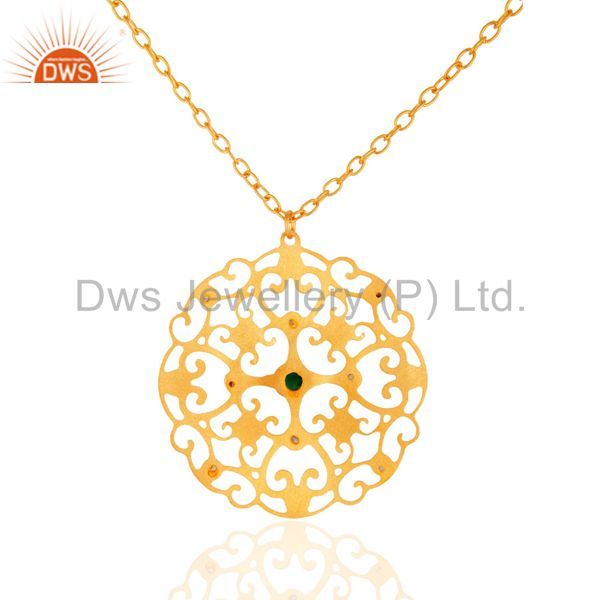 Exporter Handmade Gold Plated Green Onyx Gemstone Designer Pendant Necklace With CZ
