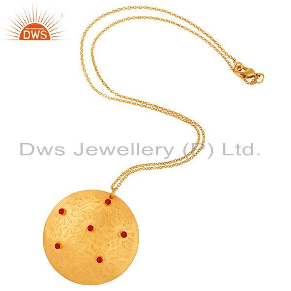 Exporter Red Coral Gemstone Gold Plated Brass Fashion Handmade Chain Pendant
