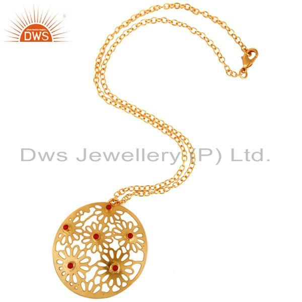 Exporter 14K Yellow Gold Plated Over Brass Red Coral Filigree Design Pendant Necklace