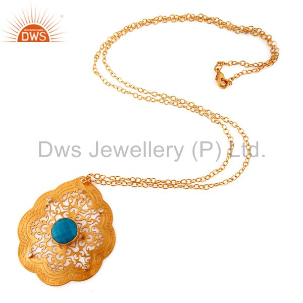 Exporter Handmade 22k Yellow Gold Plated Turquoise Gemstone Designer Pendant Necklace