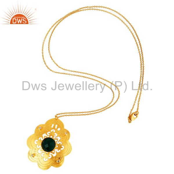 Exporter Green Onyx And Cubic Zirconia Handmade Designer Pendant Necklace - Gold Plated