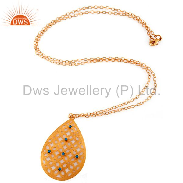 Exporter Beautifully Handcrafted Filigree Design Gold Plated Turquoise Pendant Necklace