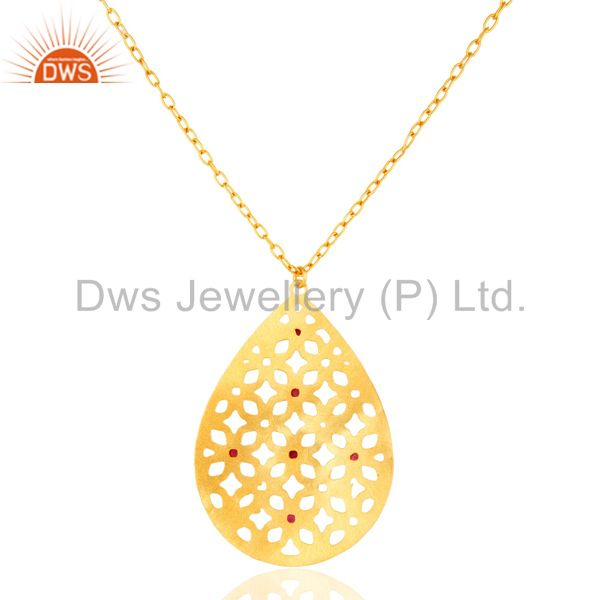 Exporter 18K Gold Plated Brass Red Cubic Zirconia Filigree Pendant With 30