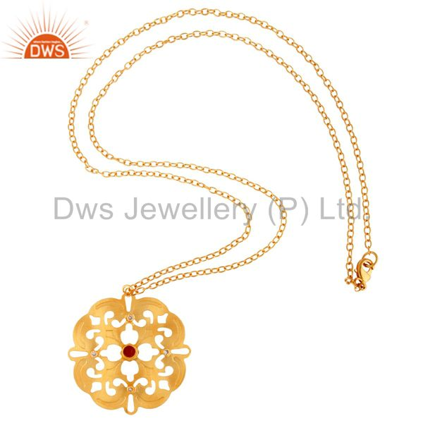 Exporter Coral Cultured And Cubic Zirconia Pendant Chain Made In 18K Yellow Gold On Brass
