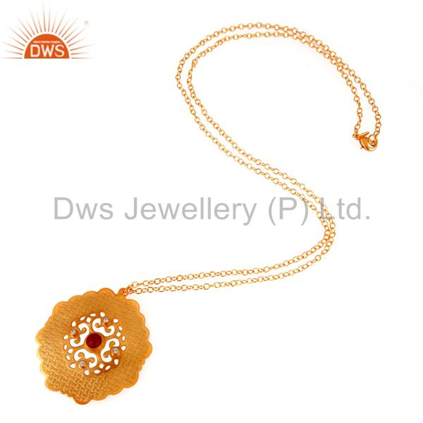 Exporter 18K Yellow Gold Plated Brass Red Coral And CZ Fashion Pendant With Chain