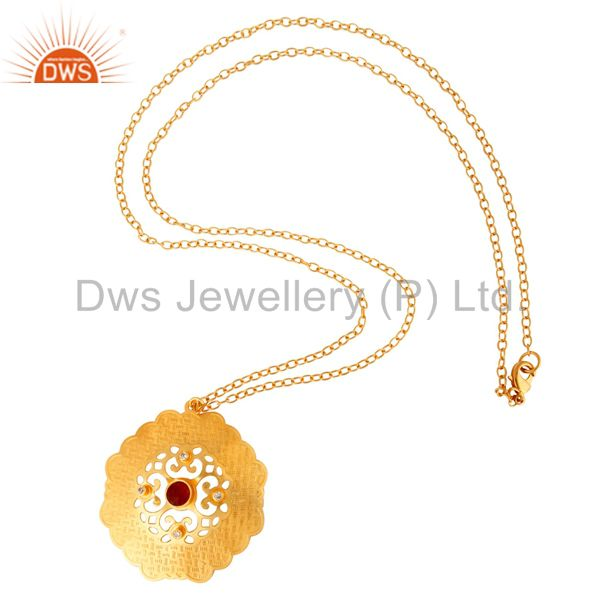 Exporter 22K Yellow Gold Plated Red Aventurine Gemstone Designer Pendant With Chain 27