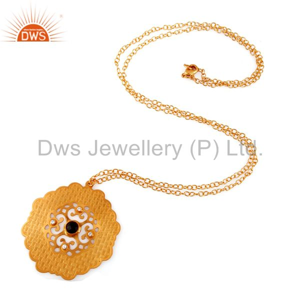 Exporter 18K Gold Plated Brass Smoky Quartz And CZ Fashion Disc Pendant With Chain