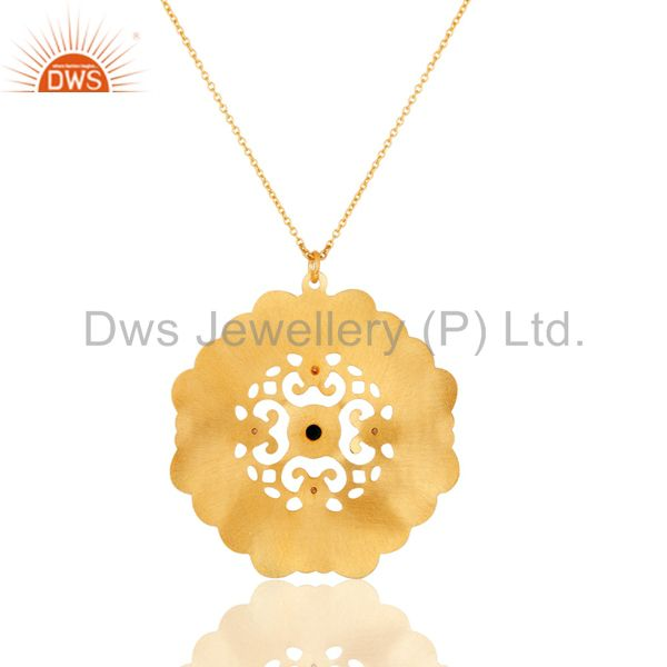 Exporter 18K Gold Plated Brass Green Onyx And CZ Fashion Disc Pendant With Chain