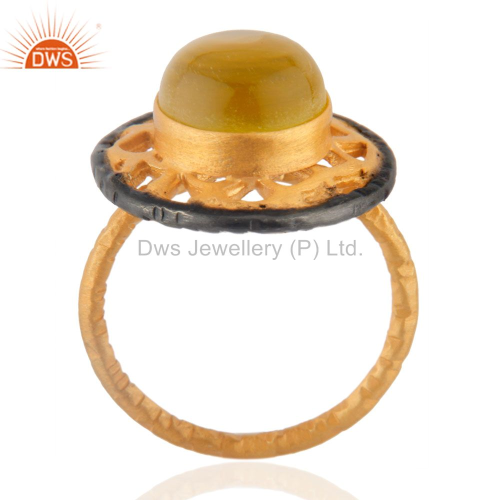 Exporter 18kt Yellow Gold Plated Solid Metal Brass Round Yellow Chalcedony Cocktail Ring