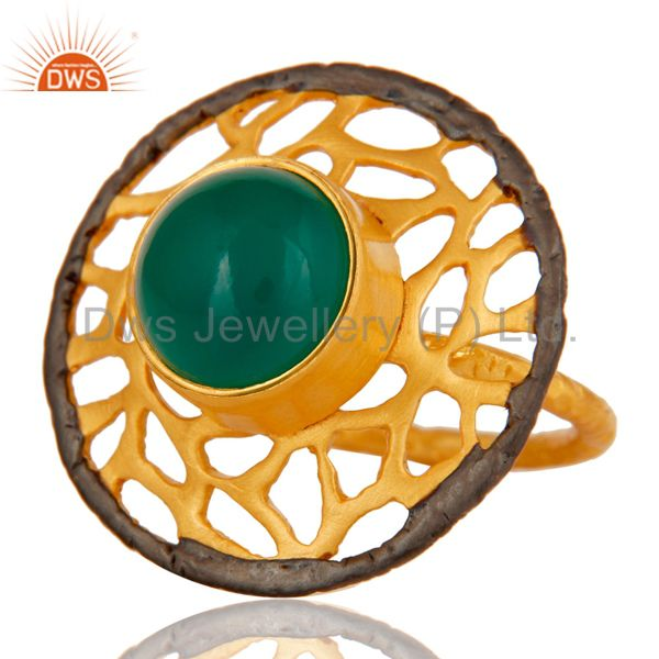 Exporter 18kt Yellow Gold Plated Solid Metal Brass Round Green Onyx Cocktail Ring