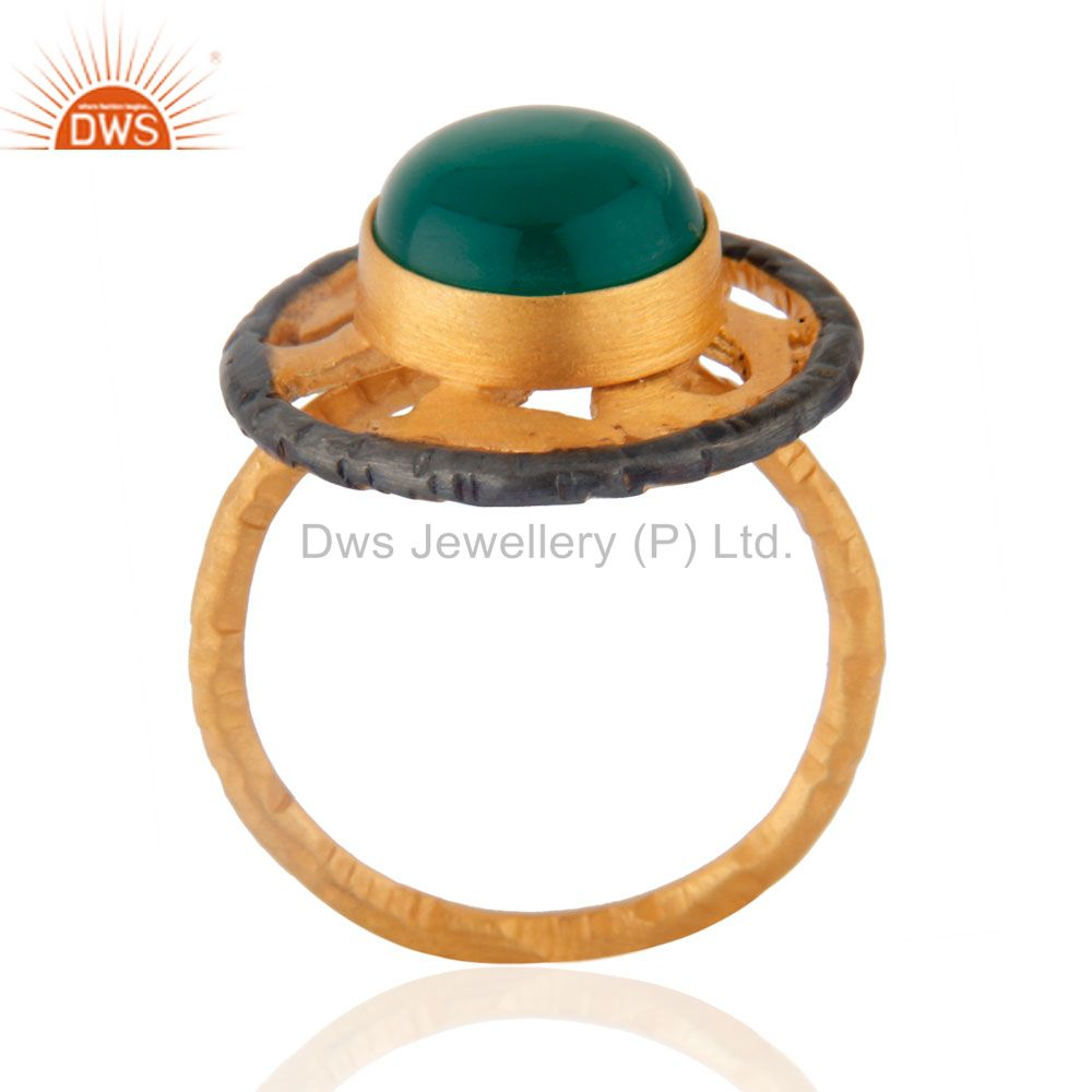 Exporter Natural Gemstone Green Onyx Emerald Color 18k Yellow Gold Plated Designer Ring