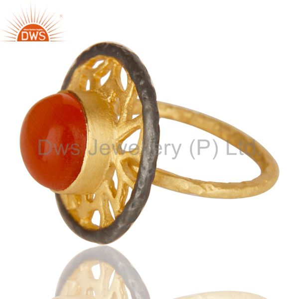 Exporter 14K Yellow Gold Plated Handmade Wide Round Peach Moonstone Cocktail Brass Ring