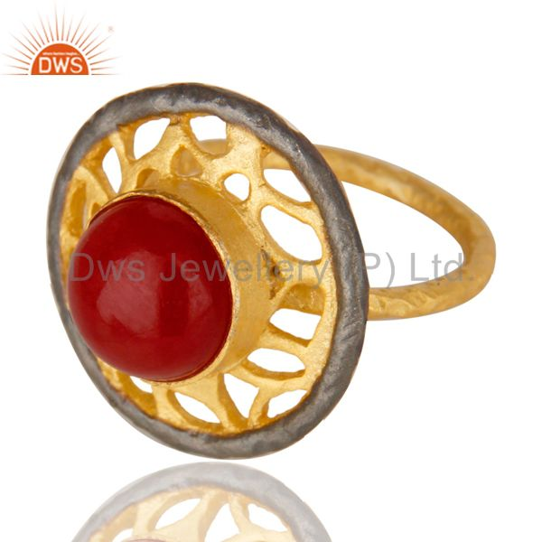 Exporter 14K Yellow Gold Plated Handmade Wide Natural Red Aventurine Cocktail Brass Ring
