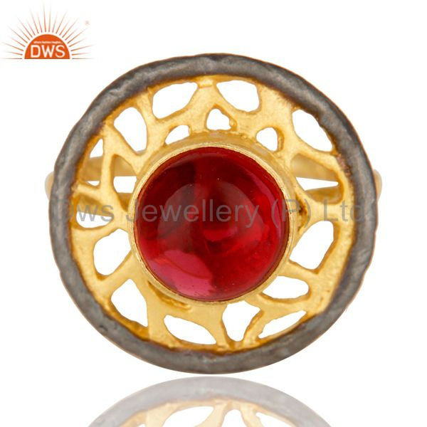 Exporter 14K Yellow Gold Plated Handmade Wide Round Glass Pink Cocktail Brass Ring