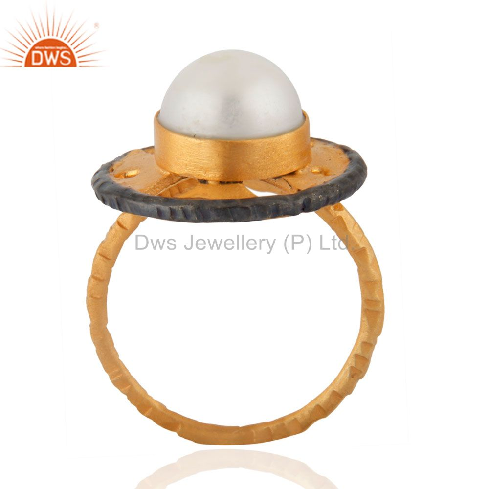 Exporter Beautiful Ethnic Hand Crafted Filigree 10mm Round Pearl Ring Gifted Jewelry Indi