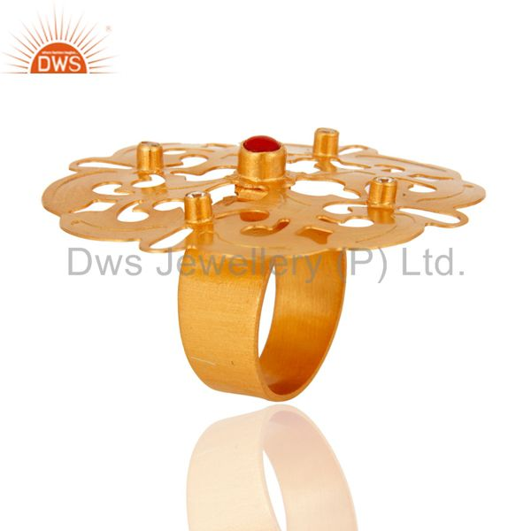Exporter Hand-Crafted 18-Karat Yellow Gold Plated Brass Cocktail Ring With CZ And Coral