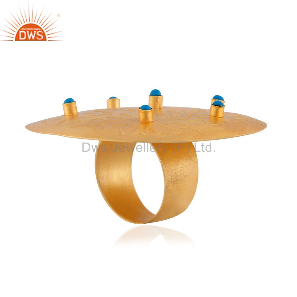 Exporter Hot New Fashion 18K Gold Plated Turquoise Gemstone Large Round Party European R