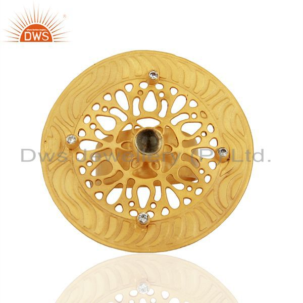 Exporter Lemon Topaz And CZ 24K Yellow Gold Plated Brass Filigree Cocktail Fashion Ring