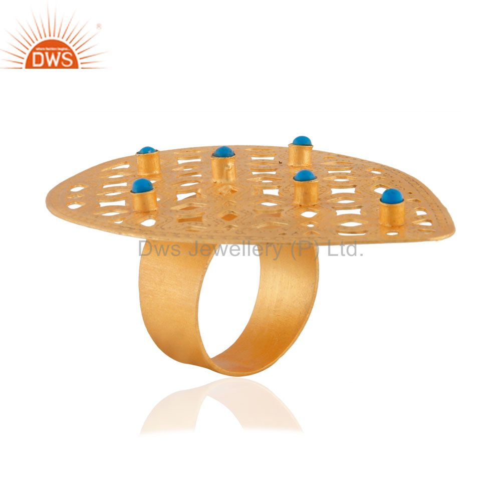 Exporter New Designer Collection 18k Gold Plated Turquoise Gemstone Filigree Fashion Ring