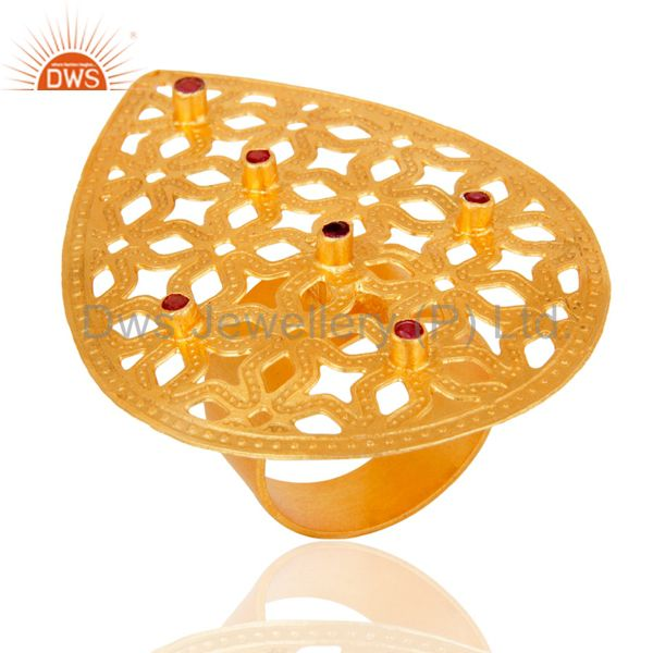 Exporter 24 K Gold Plated Red Cubic Zirconia Filigree Designer Handmade Statement Ring
