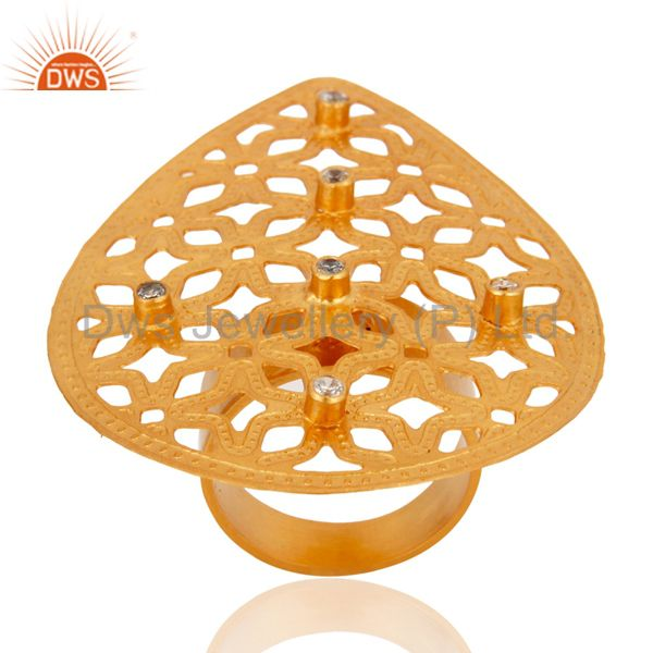Exporter Handmade 24k Gold Plated Filigree Floral Design White Cubic Zirconia Ring