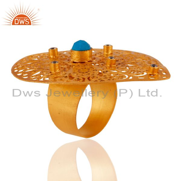 Exporter 18K Yellow Gold Plated Brass Turquoise And CZ Filigree Teardrop Cocktail Ring