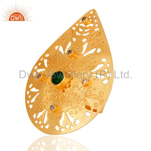 Exporter Green Aventurine 22K Yellow Gold Plated Modern Fashion Designs Cocktail Ring