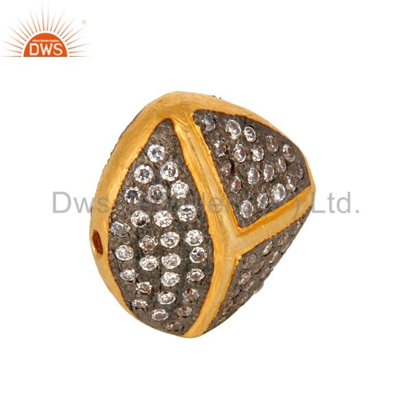 Exporter 18K Yellow Gold Plated Over Brass Beads With White Cubic Zirconia
