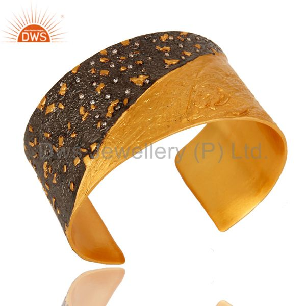 Exporter 24K Yellow Gold And Oxidized Plated Brass Wide Cuff Bracelet / Bangle With CZ