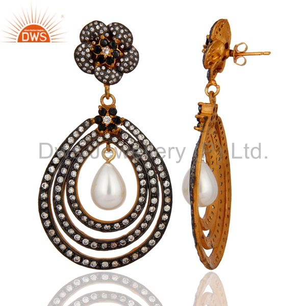 Exporter Gold Plated Cubic Zirconia And Pearl Bridal Fashion Vintage Style Earrings