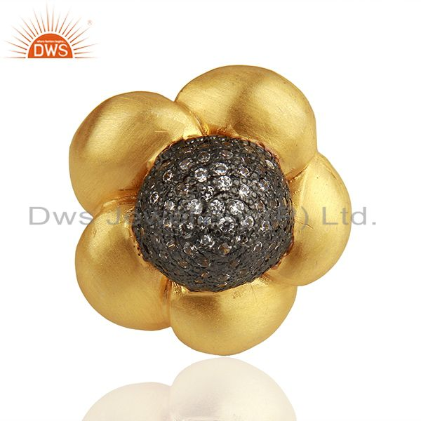 Exporter 22K Yellow Gold Plated Brass Cubic Zirconia Designer Cocktail Ring