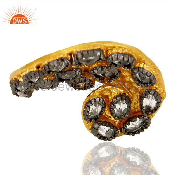Exporter 22K Yellow Gold Plated Brass Cubic Zirconia Designer Fashion Ring