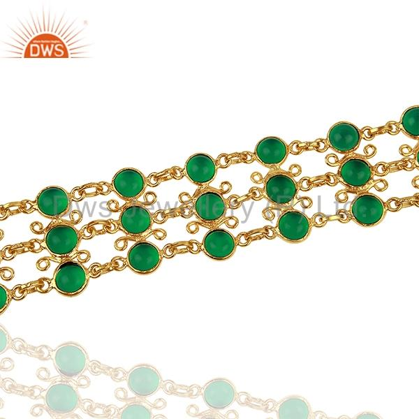 Exporter Hydro Emerald Gemstone Gold Plated Brass Chain Bracelet Jewelry