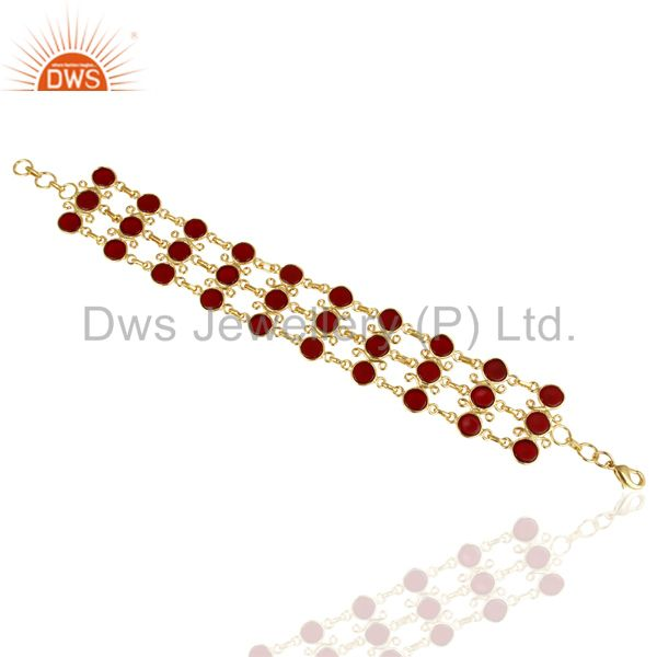 Exporter 14K Yellow Gold Plated Traditional Handmade Hydro Red Statement Bracelet