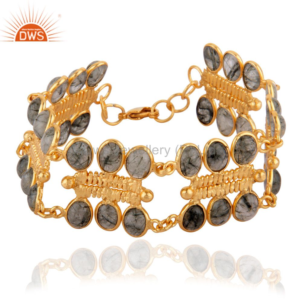 Exporter Womens Fashion Textured Black Rutile Quartz 18k Gold GP Bracelet unique Gift