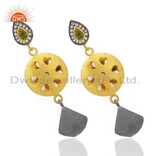 Exporter 24K Yellow Gold Plated Brass Hydro Green And CZ Designer Fashion Earrings