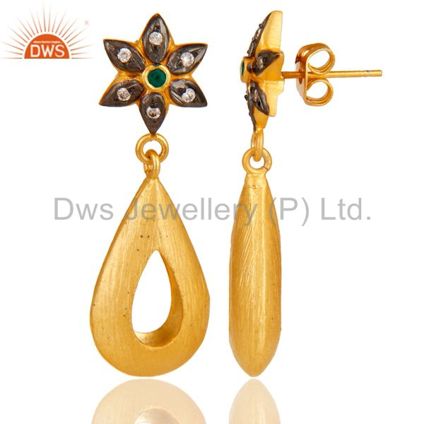 Exporter Green Onyx & White Zirconia 18K Yellow Gold Plated Handmade Design Brass Earring