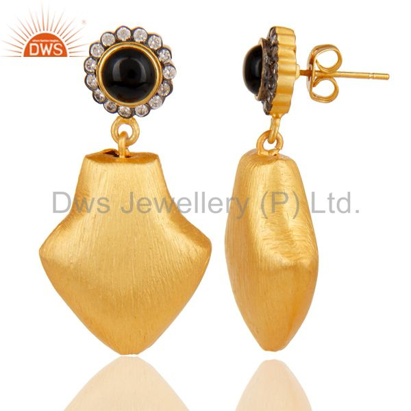 Exporter 24k Yellow Gold Plated Dangle Brass Earrings With White Zirconia & Black Onyx