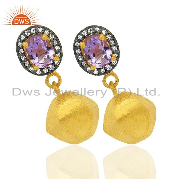 Exporter 24K Yellow Gold Plated Brass Amethyst And CZ Fashion Teardrop Earrings