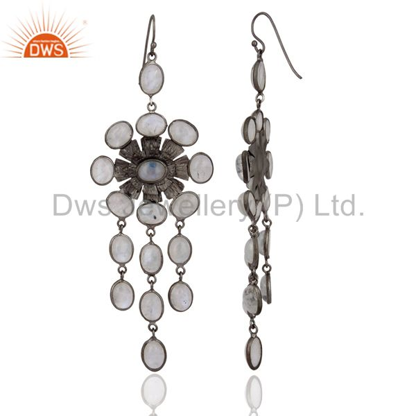 Exporter Womans Trendy Jewelry Rainbow Moonstone Rhodium Plated Party Earring Gift 4 Her