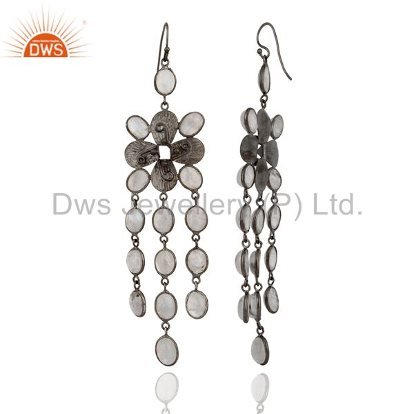 Exporter Handmade Rainbow Moonstone Chandelier Fashion Earrings With Rhodium Plated Brass