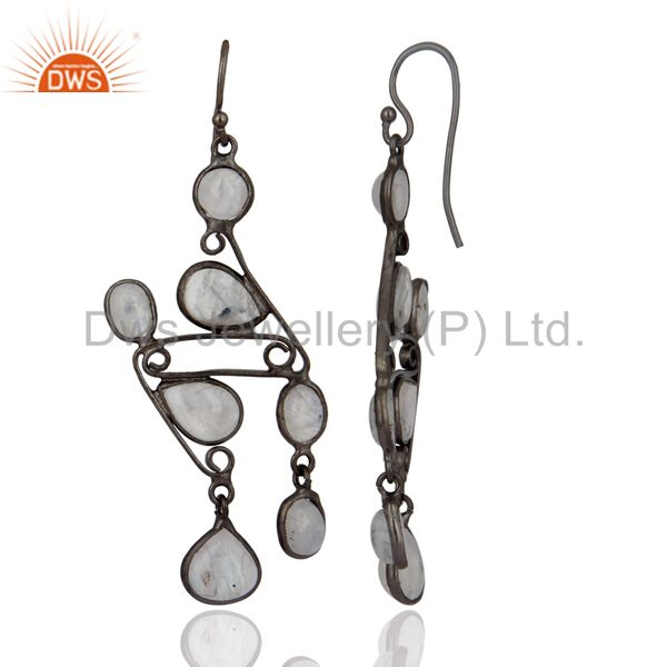 Exporter Rhodium Plated Brass Metal Natural Rainbow Moonstone Dangler Earrings Jewelry