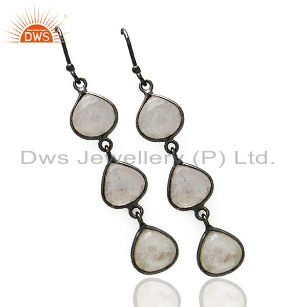 Exporter Black Rhodium Plated Brass Rainbow Moonstone Fashion Dangle Earrings
