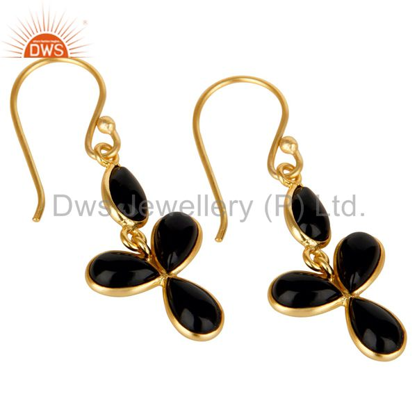 Exporter 18K Yellow Gold Plated Handmade Black Onyx Bezel Set Drops Brass Earrings