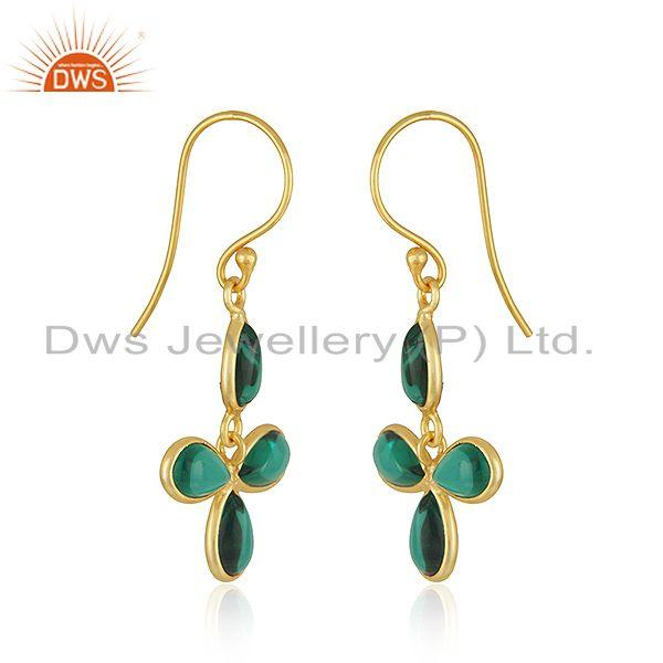 Wholesalers 22K Yellow Gold Plated Brass Dyed Green Emerald Fashion Dangle Earrings